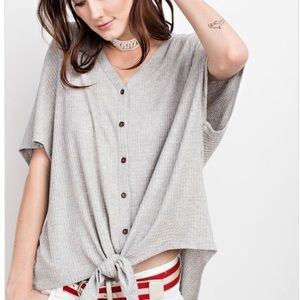 ✨Heather Grey Button Down Thermal